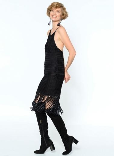 Goldie İp Askılı Püsküllü Elbise Siyah